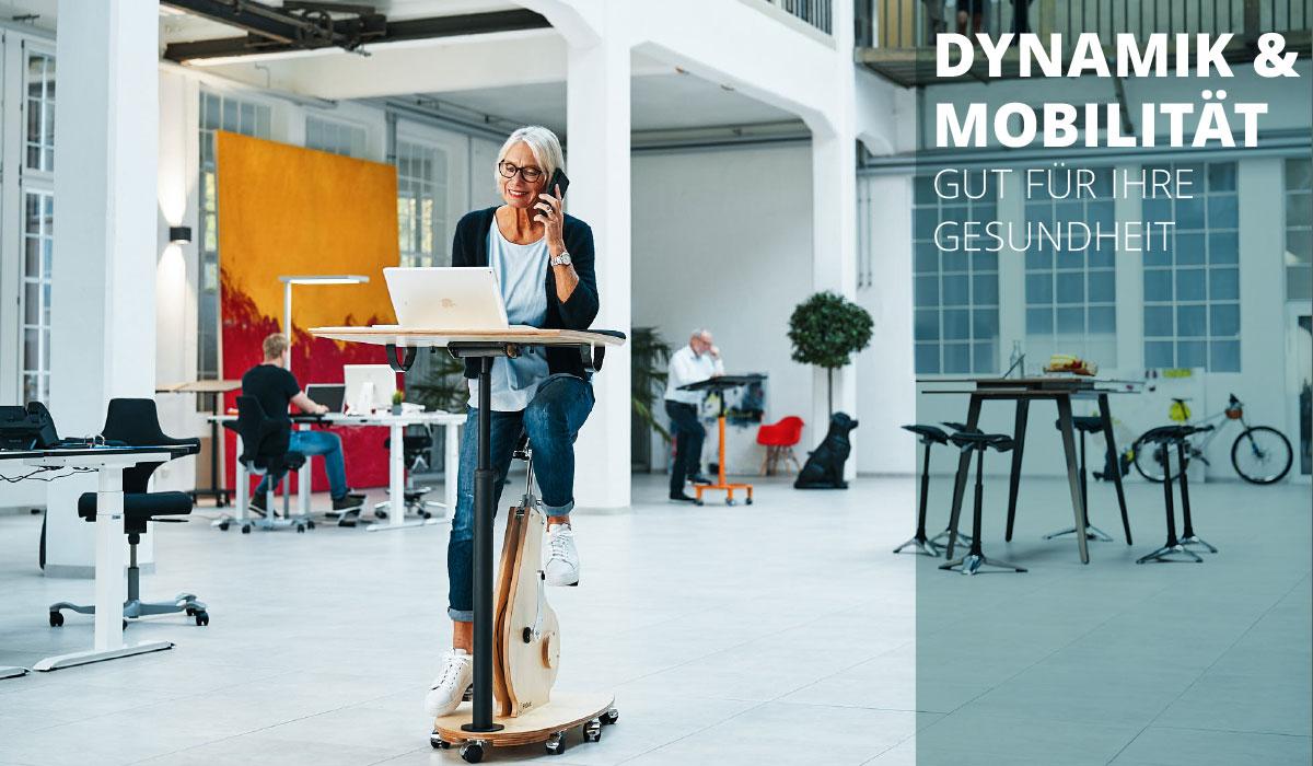 officeplus gesundheitsfoerdernde Massnahmen - Dynamik und Mobilitaet mit Stehpulten