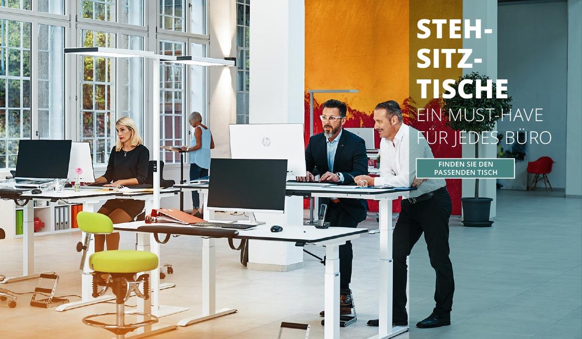 officeplus ergonomie im buero Produkte - Steh Sitz Tische