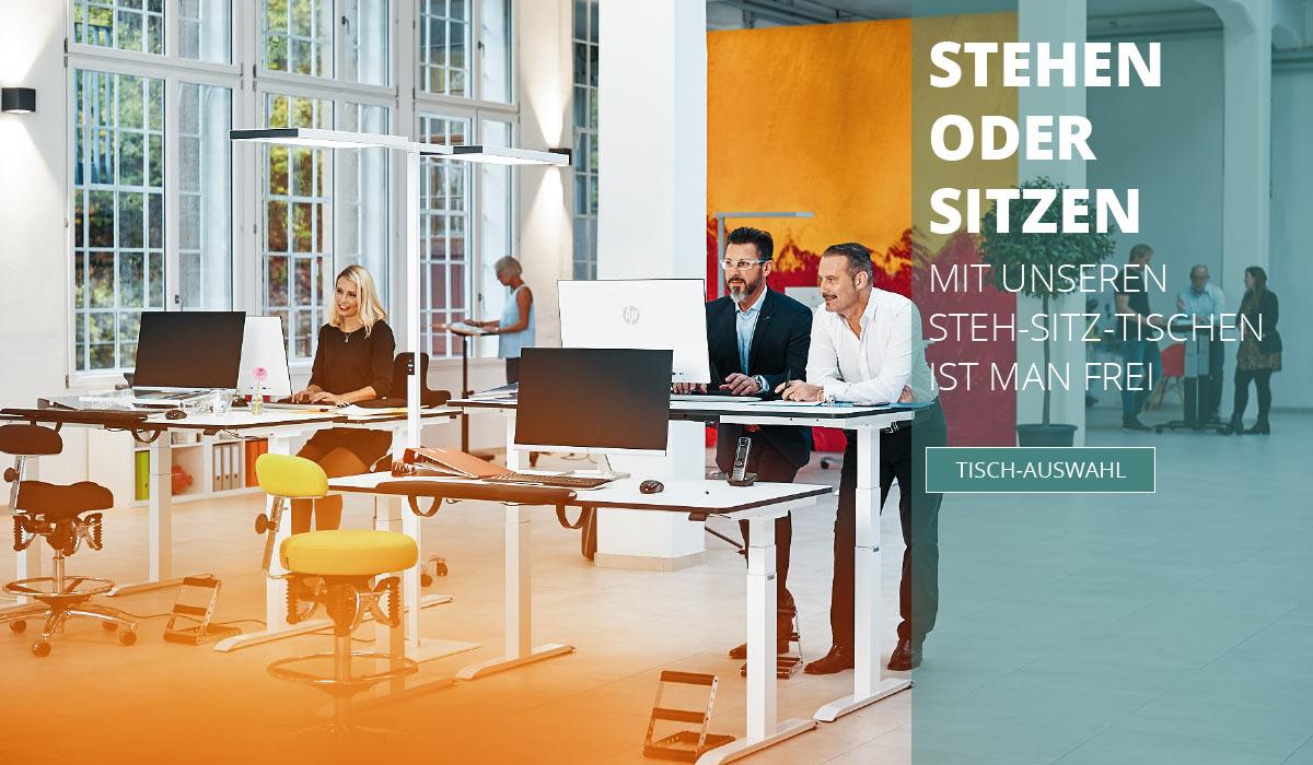 officeplus ergonomie im buero Produkte - hoehenverstellbare Tische, stehen oder sitzen